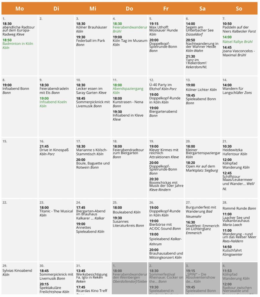 SALZ-Freizeit Treff Event Kalender